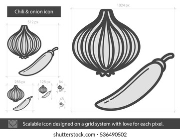 Chili and onion vector line icon isolated on white background. Chili and onion line icon for infographic, website or app. Scalable icon designed on a grid system.