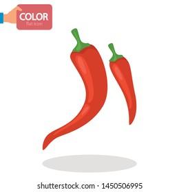 Chili pepper color vector icon. Flat design
