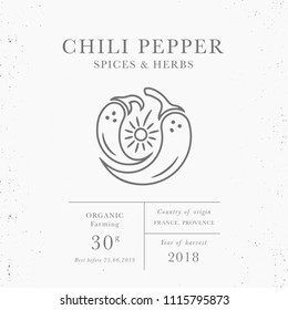 Chili pepper - emblem of packaging design template. Fresh local herbs collection. Organic spices - logo in trendy linear style isolated on white background with texture