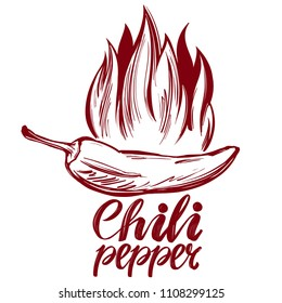 chili pepper and flame abstract symbol, sign, vegetable hand drawn vector illustration sketch