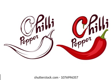 Chili pepper. Hand Drawn Hot Pepper. Lettering of chili pepper. Vector artwork