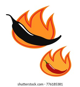 Chili pepper icon. Jalapeno vector icon set. Hot pepper with fire. Vector flat illustration, isolated on white