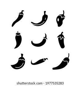 chili pepper icon or logo isolated sign symbol vector illustration - Collection of high quality black style vector icons