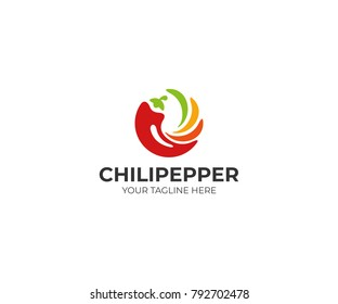 Chili pepper logo template. Spicy vegetables vector design. Food illustration