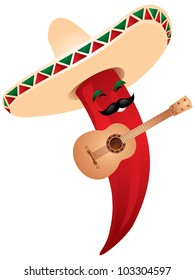 Chili pepper mariachi in sombrero playing a guitar. Mexican tradition food, music and coat vector illustration