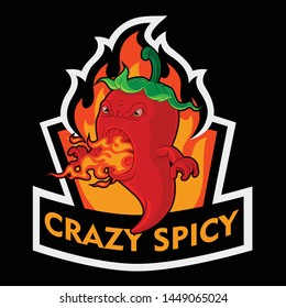 Chili pepper mascot character on fire, breathing fire-crazy spicy-vector art