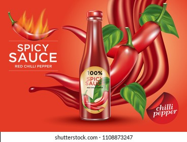 Chili pepper sauce bottle, print ads with leafs design elements on red color background, 3d illustration, of free space for your create copy and  brand. Food concept.
