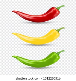 Chili pepper set. Realistic vector illustration.