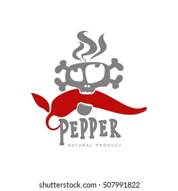chili pepper vector logo illustration, isolated on white background. Hot and spice chili pepper logo, skull and bones, mexican cuisine