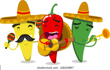 Chili Peppers as Mariachi Mexican Musicians vector illustration.
