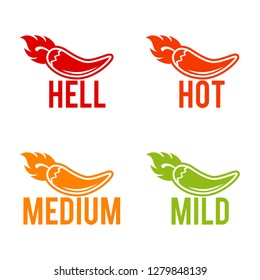 Chili peppers scale hell, hot, medium and mild icons. Eps10 Vector.
