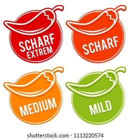 Chili peppers scale mild, medium, hot and hell - German Translation: Chili Schärfe Skala mild, medium, scharf, sehr scharf