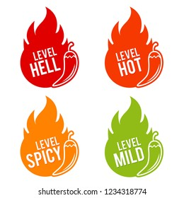 Chili peppers scale mild, spicy, hot and hell icons. Eps10 Vector.