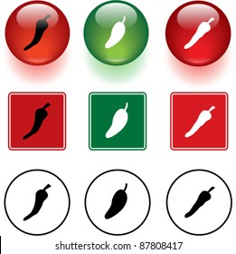 chili peppers symbols signs and buttons