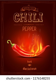 Chili red pepper in fire hot sauce poster or logo
