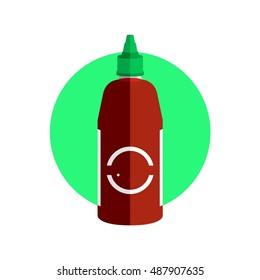 Chili Sauce Container Icon Vector Graphic