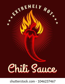 Chili sauce poster. Burning hot pepper background, fire salsa spicy sauce label