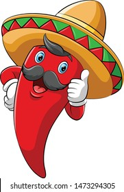 Chili with sombrero giving thumb up