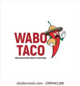chili, sombrero wabo taco, mexican food logo design
