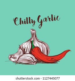 chilli garlic vector illustration
