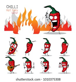Chilli Hot Spicy Characters Vectors