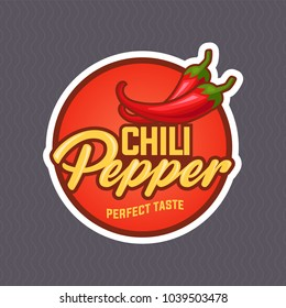 Chilli pepper logo for food label or sticker. Concept for farmers market, organic food, natural product design. Vector illustration. EPS 10