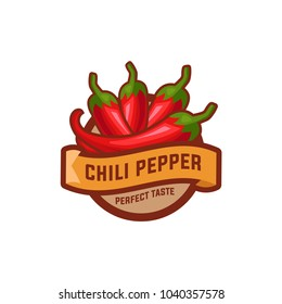 Chilli pepper logo food label or sticker. Concept for farmers market, organic food, natural product design.Vector illustration. Chili Pepper Spicy Restaurant Logo in White Isolated, Vector EPS 10