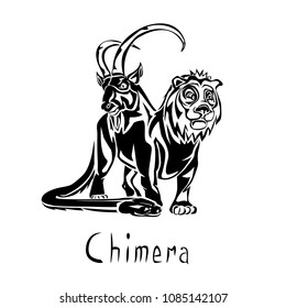 Chimera a monstrous creature in Greek mythology black vector illustration on a transparent background
