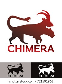 Chimera is a vector illustration that can be used as logo, represents a monstrous fire-breathing hybrid creature from the ancient greek mythology. Has parts of lion, goat and a snake as a tail.