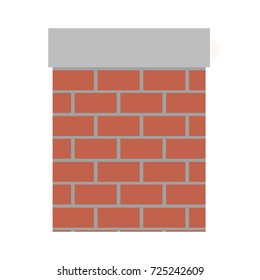 chimney in brick material on colorful silhouette vector illustration