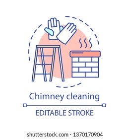 Chimney cleaning concept icon. Additional cleanup service idea thin line illustration. Roof cleanup. Chimney sweeper. Tile washing. House maintenance. Vector isolated outline drawing. Editable stroke