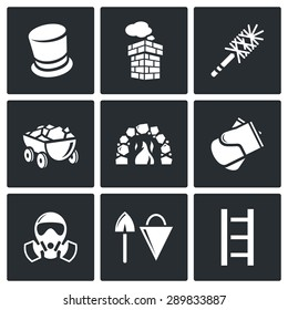 Chimney and heating coal icons set. Vector Illustration. Isolated Flat Icons collection on a black background for design