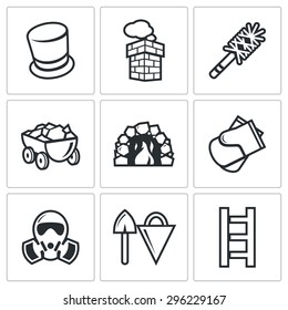 Chimney and heating coal icons set. Vector Illustration. Isolated Flat Icons collection on a white background for design