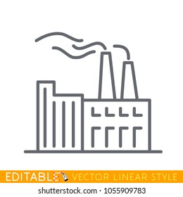 Chimney Of Heavy Industry Factory. Editable stroke sketch icon. Stock vector illustration.