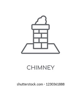 Chimney linear icon. Modern outline Chimney logo concept on white background from Industry collection. Suitable for use on web apps, mobile apps and print media.