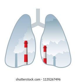 chimney smoke, human lungs, air pollution concept