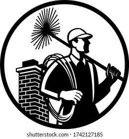 Chimney Sweep Holding Sweeper and Rope Circle Retro Black and White