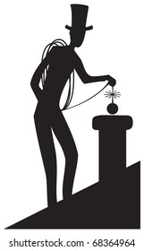 Chimney sweep working on a roof.  Vector Silhouette