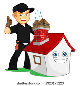 Chimney Sweeper give chimney cap cartoon illustration, can be download in vector format for unlimited image size
