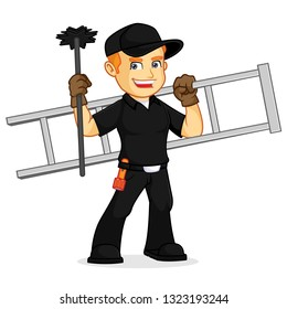 Chimney Sweeper hold ladder and broom cartoon illustration, can be download in vector format for unlimited image size