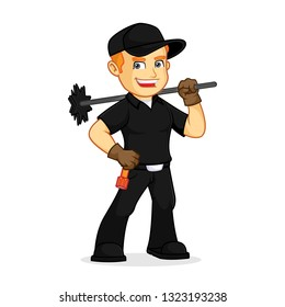 Chimney Sweeper hold chimney sweep broom cartoon illustration, can be download in vector format for unlimited image size