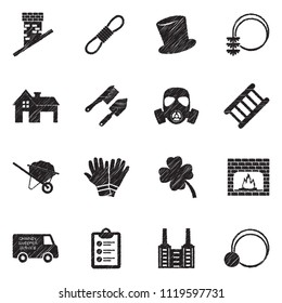 Chimney Sweeper Icons. Black Scribble Design. Vector Illustration.