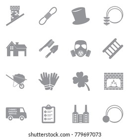 Chimney Sweeper Icons. Gray Flat Design. Vector Illustration.