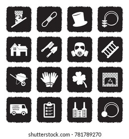 Chimney Sweeper Icons. Grunge Black Flat Design. Vector Illustration.