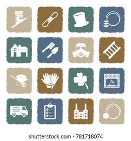 Chimney Sweeper Icons. Grunge Color Flat Design. Vector Illustration.