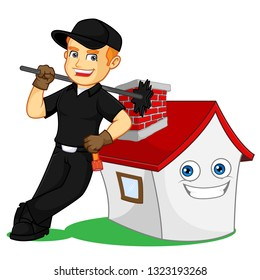 Chimney Sweeper leaning on a house cartoon illustration, can be download in vector format for unlimited image size