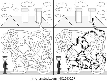Chimney sweeper maze for kids with a solution in black and white