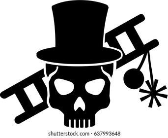 Chimney sweeper skull with ladder and equipment