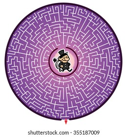 Chimney sweeper's Round Maze Game (help the Chimney sweeper escape the maze - Maze vector puzzle)