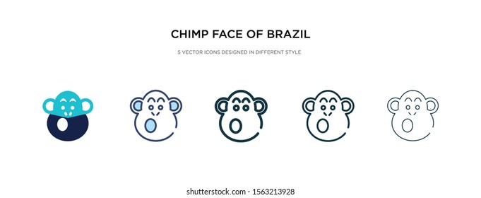 chimp face of brazil icon in different style vector illustration. two colored and black chimp face of brazil vector icons designed in filled, outline, line and stroke style can be used for web,